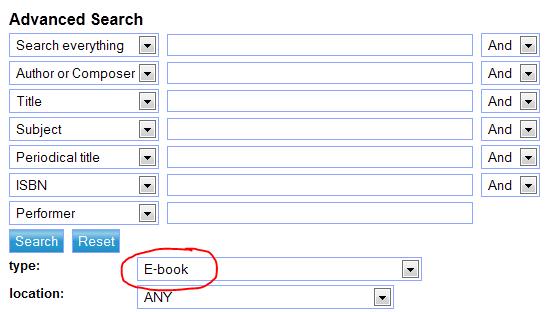 Screenshot showing catalogue search for e-books