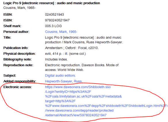 Screenshot showing location of e-book link