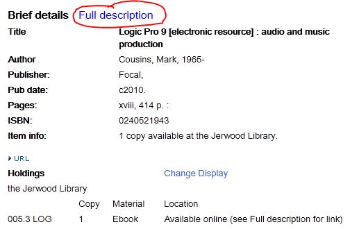 Screenshot showing location of full description link