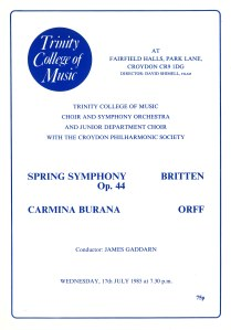 Programme for Trinity College of Music concert, 17 July 1985