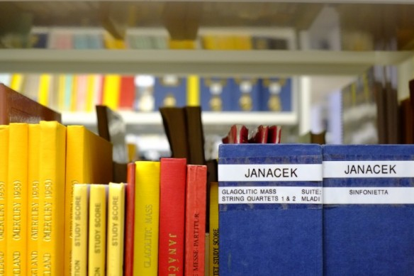Photo of Janacek scores in the Jerwood Library
