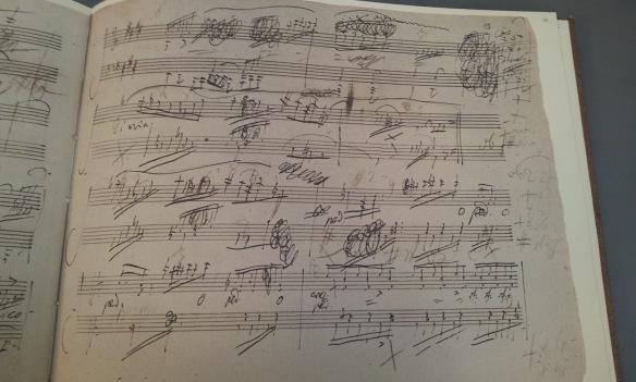 Facsimile page of Beethoven's score of piano sonata opus 109