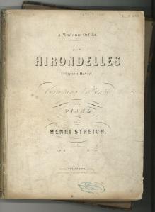 Les hirondelles de Félicien David: variations brillantes pour piano, op.5 / par Henri Streich.