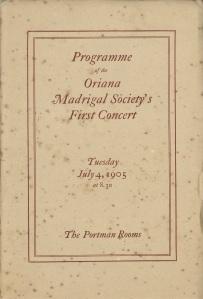 Programme for the Oriana Madrigal Society's first concert on 4 July 1904