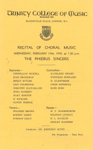 Programme for Phoebus Singers concert, 14 February 1945, Trinity College of Music
