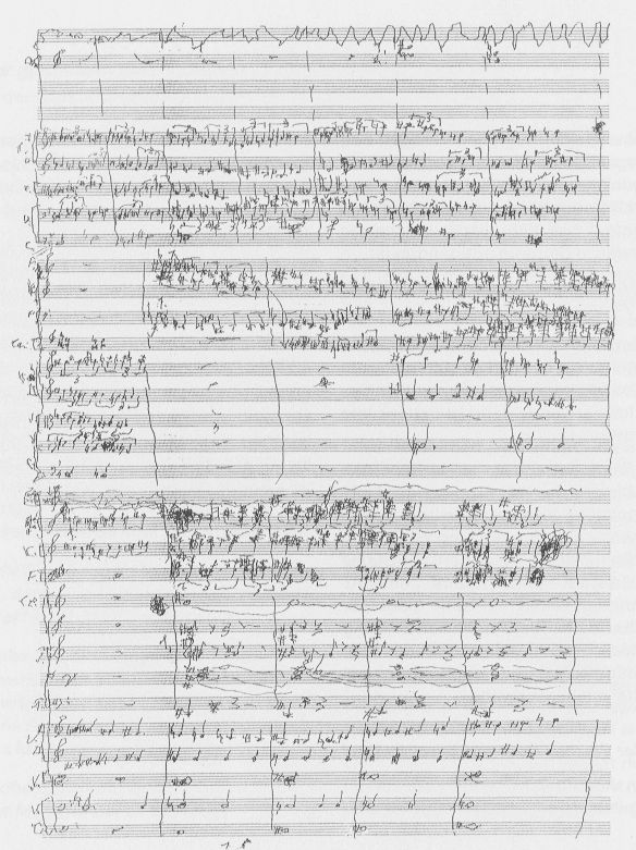 Facsimile of a page from Schnittke's last symphony