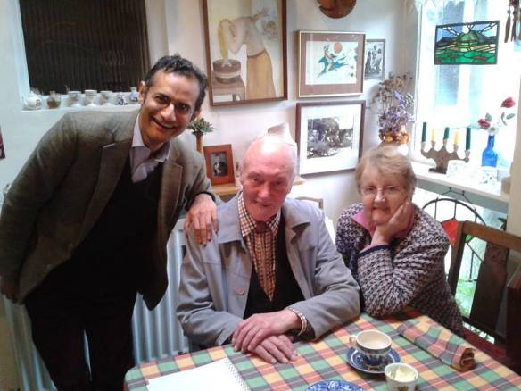 Photo of Trinity Laban's Karl Lutchmayer with Ronald Stevenson and his wife Marjorie Spedding