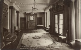 Entrance Hall to Mandeville Place, showing the War Memorial