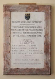 Trinity College of Music War Memorial, now located in the Hawksmoor entrance of King Charles Court