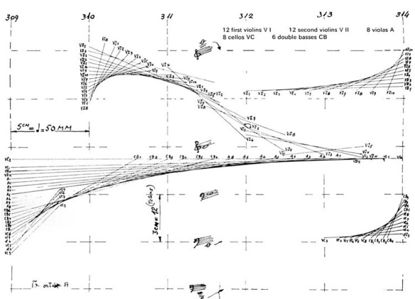 Composition sketch for Xenakis metastasis showing the basis for the hyperbolic paraboloids of the Philips Pavillion