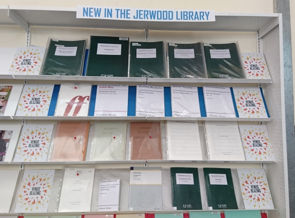 Four shelves showing items purchased by the Jerwood Library to support Venus Blazing