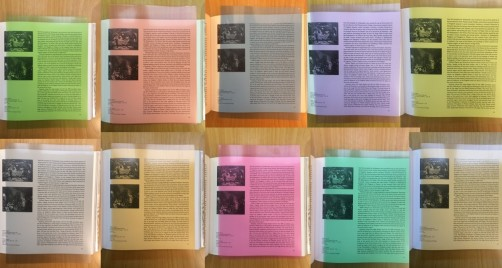 photo of multiple coloured transparencies to aid dyslexic readers